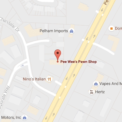 Contact us pee wee 39 s pawn for Jewelry pawn shops birmingham al